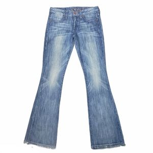 CHIP & PEPPER Faded Tally Flare Jeans Size 28